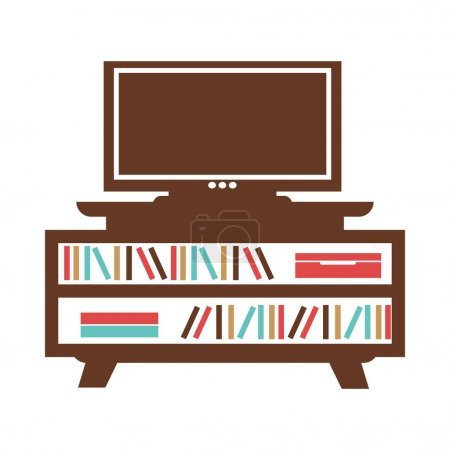 Wide-screen TV on small bookcase with colored books