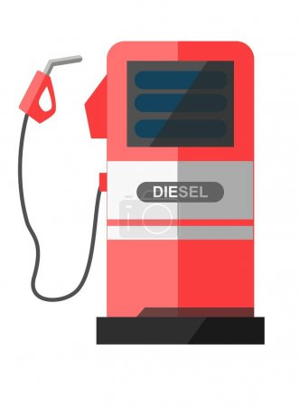 Red petrol station with disconnected filling pistol