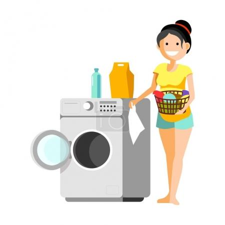 Cheerful woman putting clothes to washer