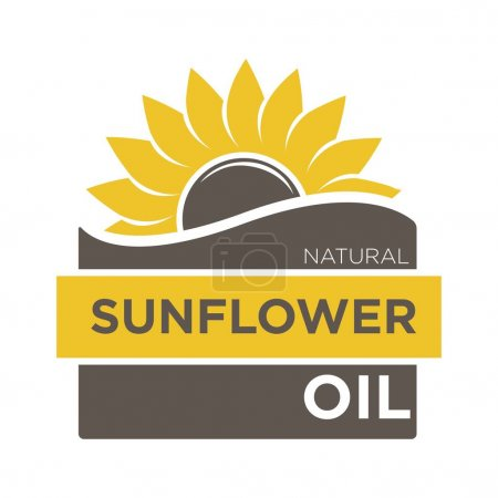 Color emblem of natural sunflower oil with yellow helianthus