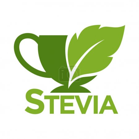 Green symbol of stevia or sweet grass on white background.
