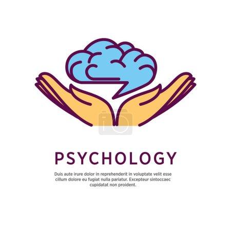 Illustration pour Conception de logo de psychologie avec paumes ouvertes main avec cerveau humain sur eux isolé sur blanc. Symbole d'intelligence avec icône d'esprit créatif dans les bras humains. Illustration vectorielle du concept de connaissance - image libre de droit