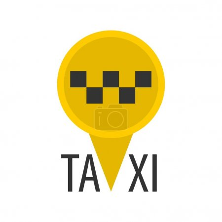 Yellow pin-shaped taxi sign