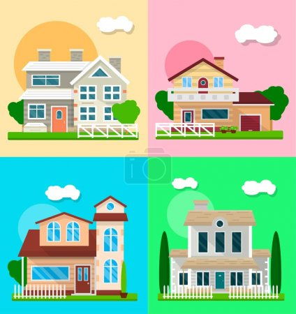 Detailed graphic houses colorful vector set of four