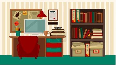 Illustration pour Lieu de travail confortable dans la maison vecteur coloré illustration plate. Endroit élégant pour travailler à la maison avec un bureau en bois, un dispositif informatique, des livres et des documents dans la bibliothèque et la planche pour les notes - image libre de droit