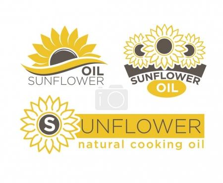 Sunflower natural cooking oil product vector package labels templates set