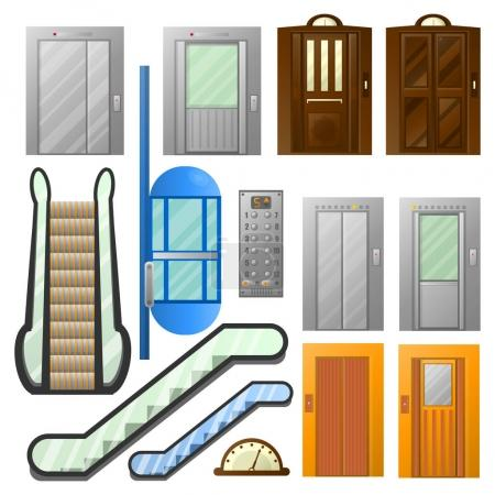 Elevators or escalator lifts vector isolated icons set