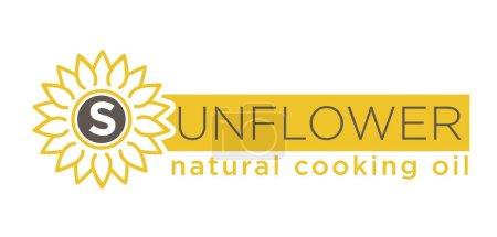 Sunflower natural cooking oil emblem of natural organic oil