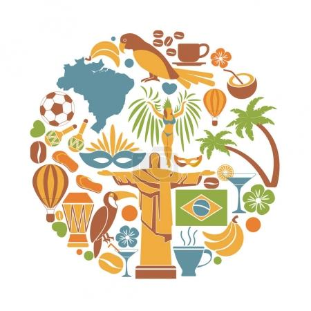 Brazil travel sightseeing icons and vector landmarks poster
