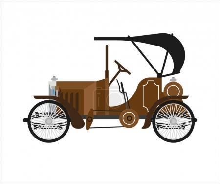Old car or vintage retro collector auto vector flat icon