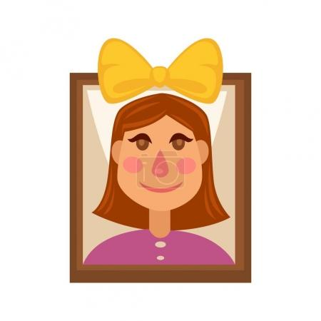 Young girl with yellow head bow on picture in frame