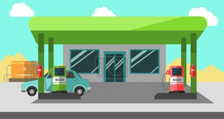 Filling station working colorful vector illustration in flat design