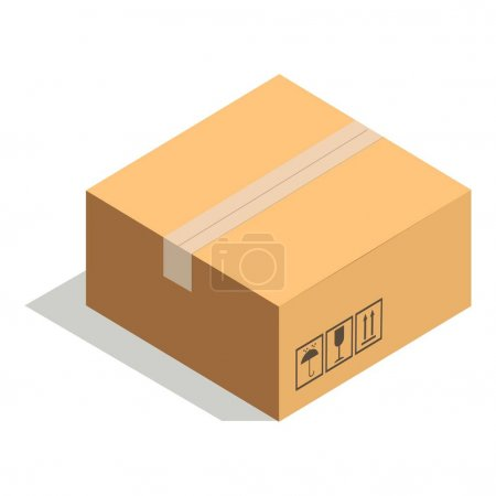 Closed paper cardboard box isolated on white with adhesive tape