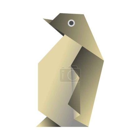 Penguin origami isolated on white flat vector illustration