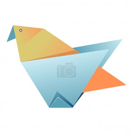 Blue and yellow origami of bird on white background