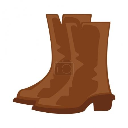 Brown cowboy boots pair isolated on white vector illustration