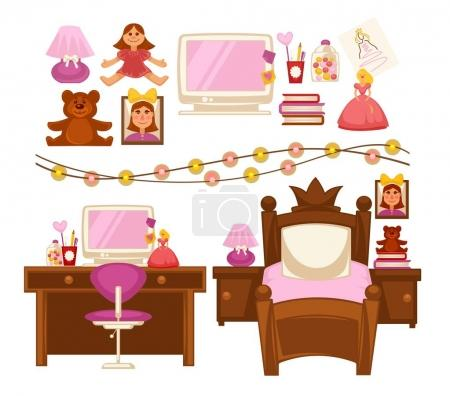 Girl kid room interior furniture and appliances vector flat icons set