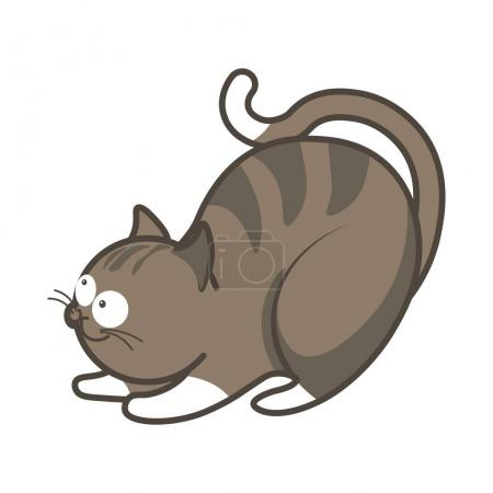 Cartoon playful kitten going to jump vector illustration isolated.