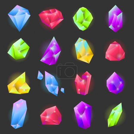 Crystals or gemstones of different forms and shapes vecor icons set