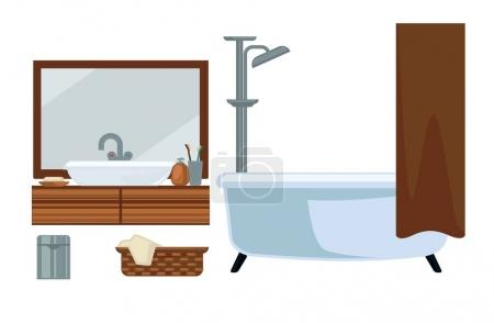 Bathroom fruniture and bathing accessories vector flat icons set