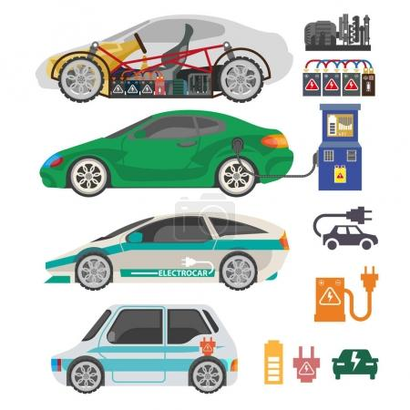 Electrocar or electric car passenger automobile mechanism part vector flat icons