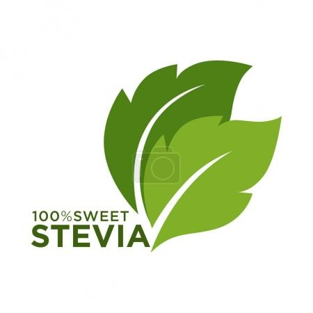 Green symbol of stevia or sweet grass 100 percent logo