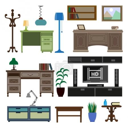 Home room and workplace furniture pieces and accessories vector flat icons