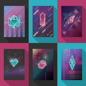 Posters and pattern backgrounds set with vector gem crystals
