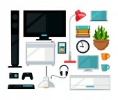 Home living room interior furniture and digital appliances vector flat icons
