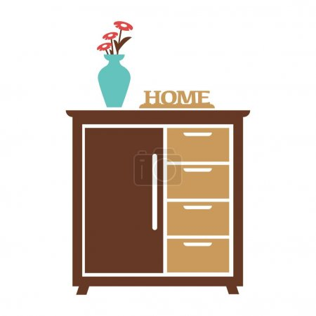 Brown cupboard with blue flower vase, carved sign of home
