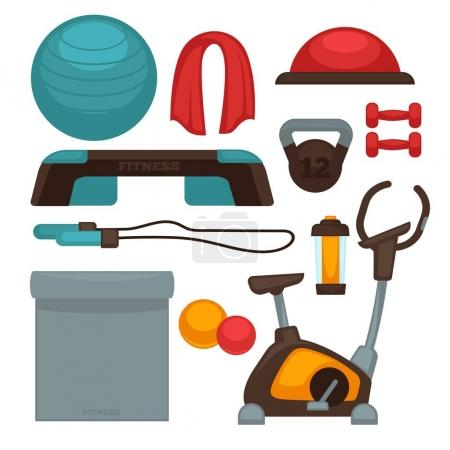 Gym or fitness center sport equipment and accessories vector flat icons