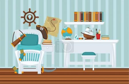 Boy's room in pirate style colorful flat illustration