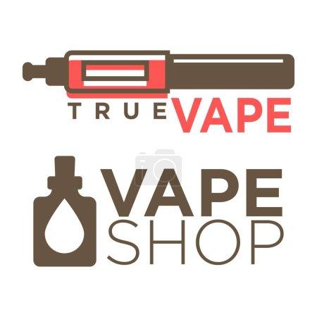 Vape shop logotypes on white flat vector illustration