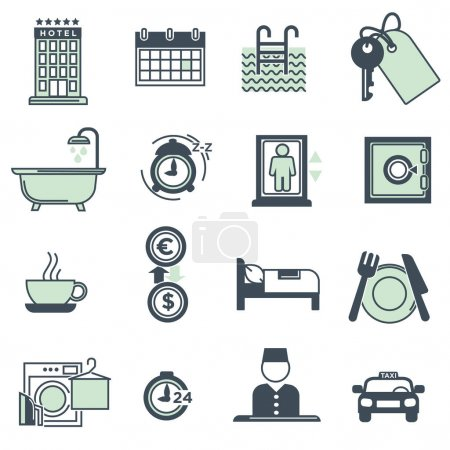 Hotel amenities and services icons collection