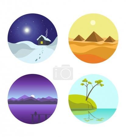 Four landscape colorful round pictures