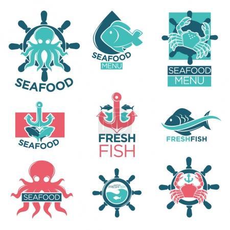 Seafood colorful logo labels flat set