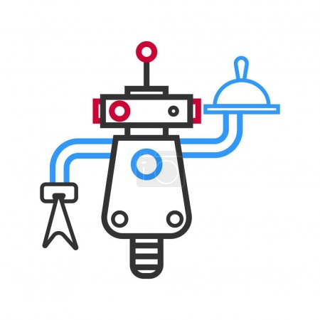 Outlined robot waiter with meal on tray