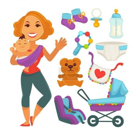 Mother holding baby near newborn things set