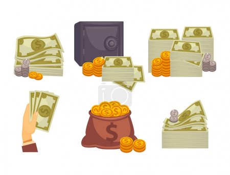 Bundles of money and stacks of coins