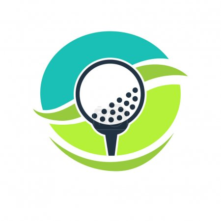 Golf club label with white ball