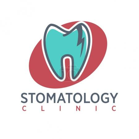 Stomatology clinic logo on oval background.