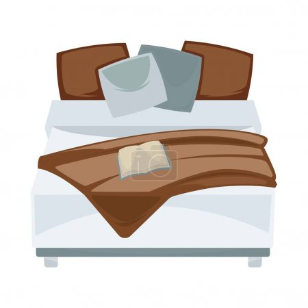 Dark double bed with pillows