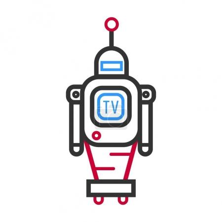 Minimalistic robot with TV screen
