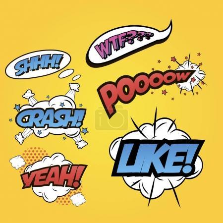 Pop art word inscriptions set