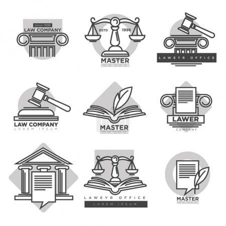 Illustration pour Logotypes de société d'avocats collection en couleur grise isolée sur blanc. Affiche vectorielle de symboles et de signes caractérisant la justice et les règles juridiques, échelles spéciales et marteau, logo de bureau d'avocat - image libre de droit