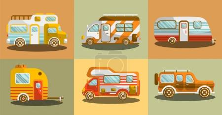 Camper vans for travelling colorful collection