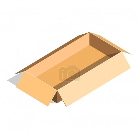 Empty container carton store package, delivery open box flat design.