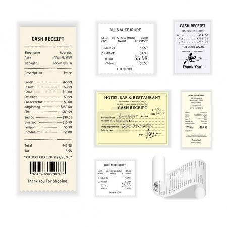 Illustration pour Vecteur de reçus de caisse affiche colorée isolée sur blanc. Collecte de contrôles financiers imprimés montrant l'action d'achat de certains produits ou services d'hôtel et de restauration. Modèle d'exemples de facture - image libre de droit