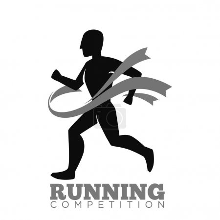 Monochrome running competition logotype