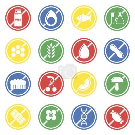 Allergen labels colorful icon set